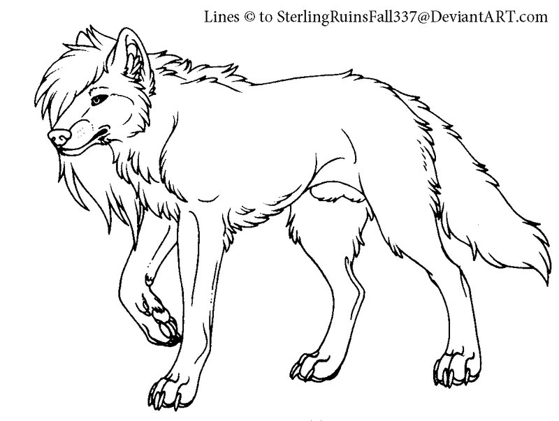 anime wolves drawings. Longhaired wolf MSpaint lines